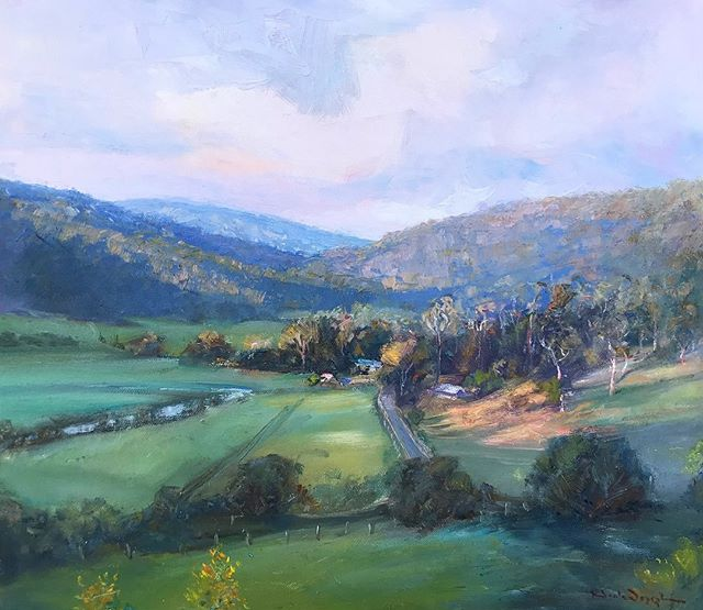 'YARRAMALONG VALLEY'  This piece will be featured along with other new oils in a mini exhibition that you're all invited to at the @wyongmilkfactory - this Saturday 6-9pm and will run daily until the end of April. Hope to see you there. NJ 🥂