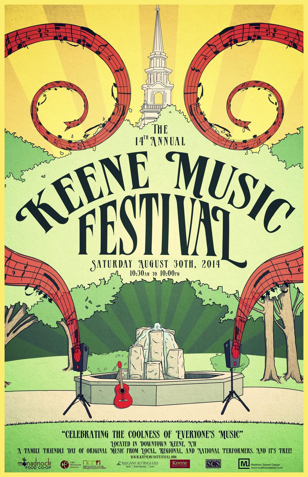 The 2014 Keene Music Festival Poster created by Matt Sebert.