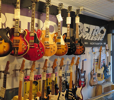 retro music electric guitars