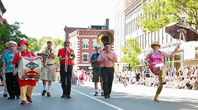 Celebration Brass Band at 2014 Strolling of the Heifers Parade in Brattleboro