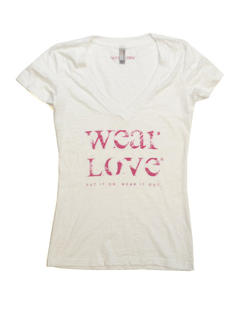 White and Pink wearLove tshirt