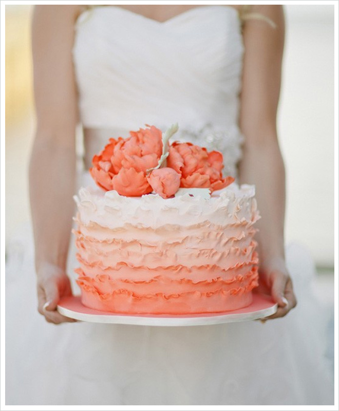Peach Ombre Ruffled Cake | Photo by Wedding Bells