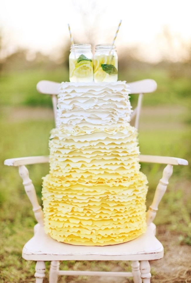 Lemon Yellow Ruffle Cake: Wings of Glory Photography