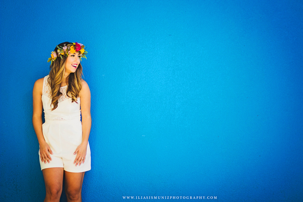 White Romper and Bright Floral Crown | South Padre Island Engagement Shoot
