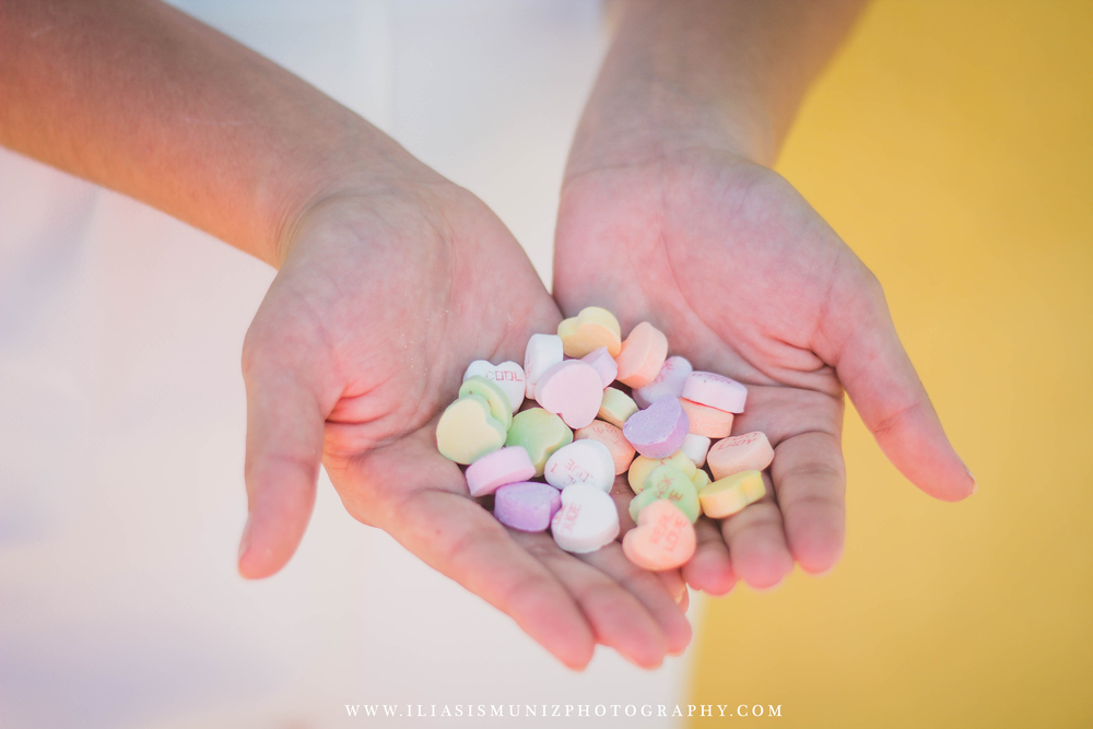 Valentine Candy Hearts | South Padre Island Engagement Shoot