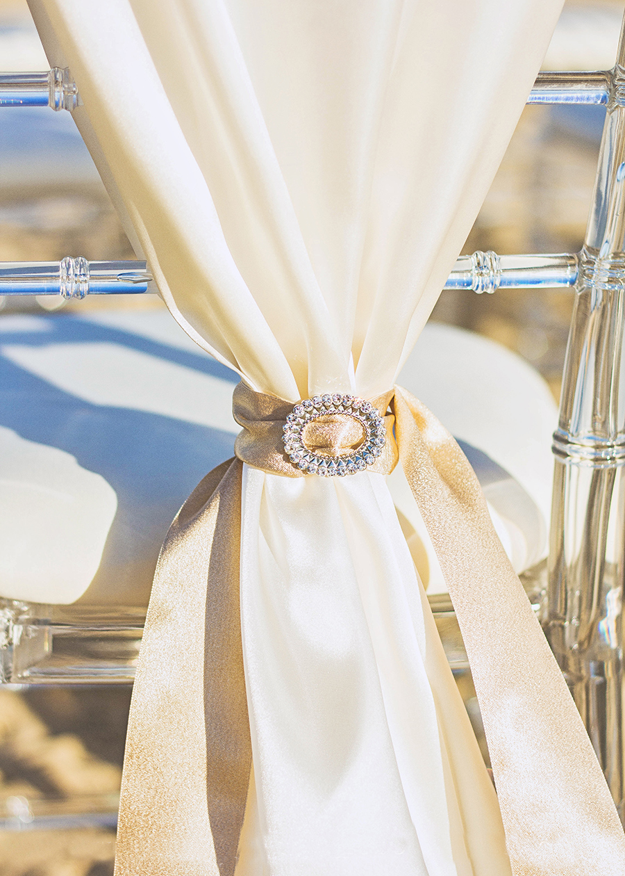 Bling Chair Tie Back | South Padre Island Wedding | JoAnna Dee Weddings
