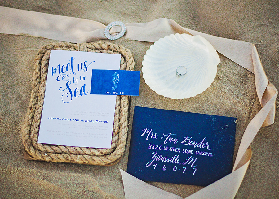 Navy Nautical Wedding Invitations