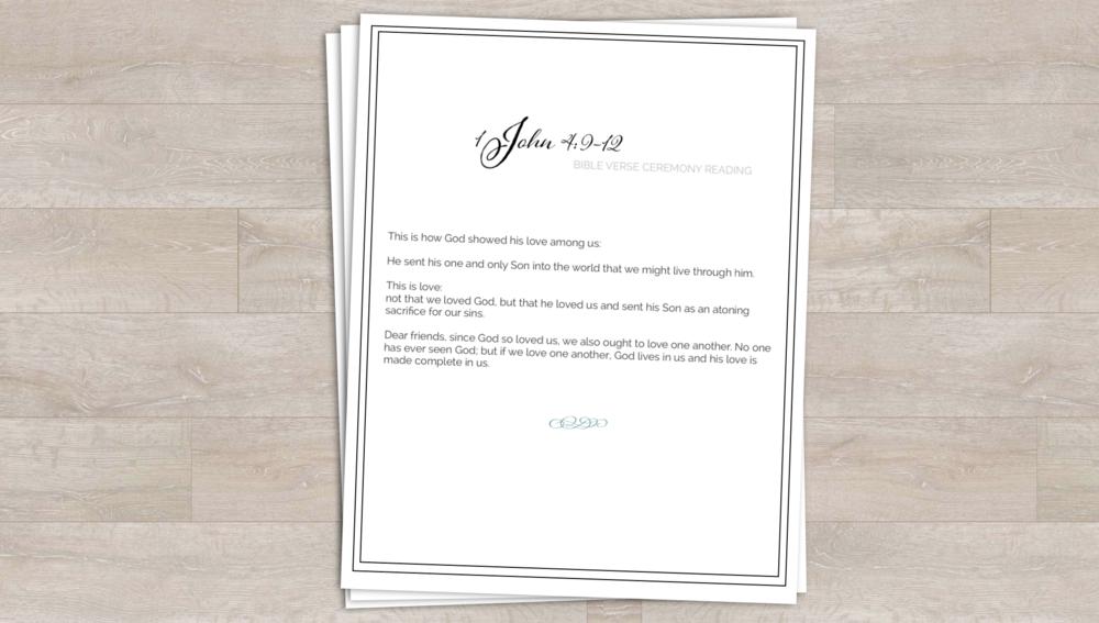 Free Download Wedding Ceremony Reading 1 John 4: 9-12