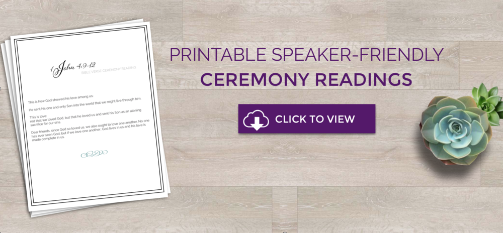 Speaker Friendly Wedding Ceremony Readings