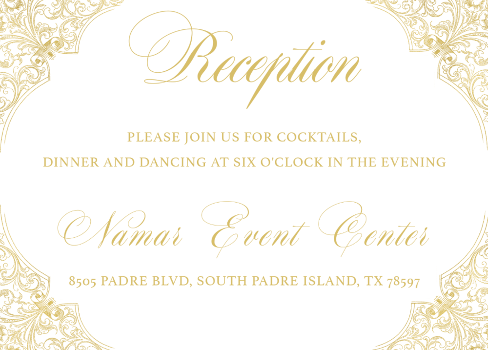 Gold Foil Reception Card | Wedding Stationery