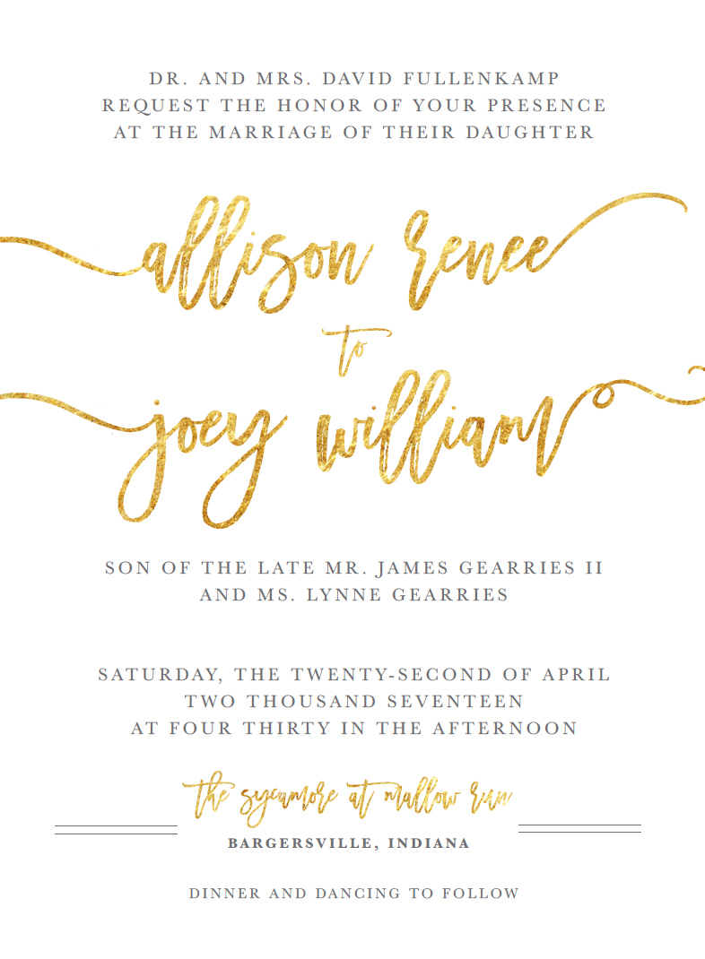 Gold Foil Wedding Invitation | Wedding Stationery
