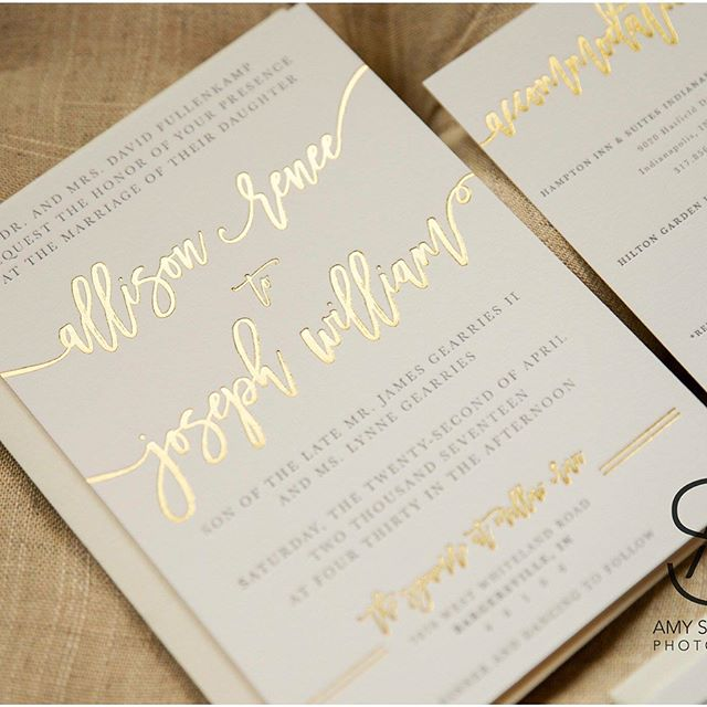 Happy Friday! I've been a busy bee over here and it about time that I share some of the awesome projects I've been working on! . First up... CUSTOM wedding stationery. Did you know I offer this service that allows you to have UNLIMITED edits?! Say whatttttt??? Yep, you heard that right. . Here's how the experience goes: 1) We chat about you and your fiancé! I want to hear all about your love story and draw inspiration from precious memories and details of your wedding that make YOU two special. . 2) I create 3 different designs as a starting point. You can mix, match as many times as you like... Or start fresh! . 3) Once you are 100% in love with your invitations, these puppies hit the press and are delivered to your door ready to send!  EASY. STRESS FREE. 100% HAPPY :) . From your imagination -------  to real life! . . Know someone who has an upcoming celebration?! TAG them below! I want to meet you! . . Thanks for the beautiful photos @amy_sprunger_photography !!! #weddingstationery #custom #goldfoil #orlando #orlandobrides #floridabride