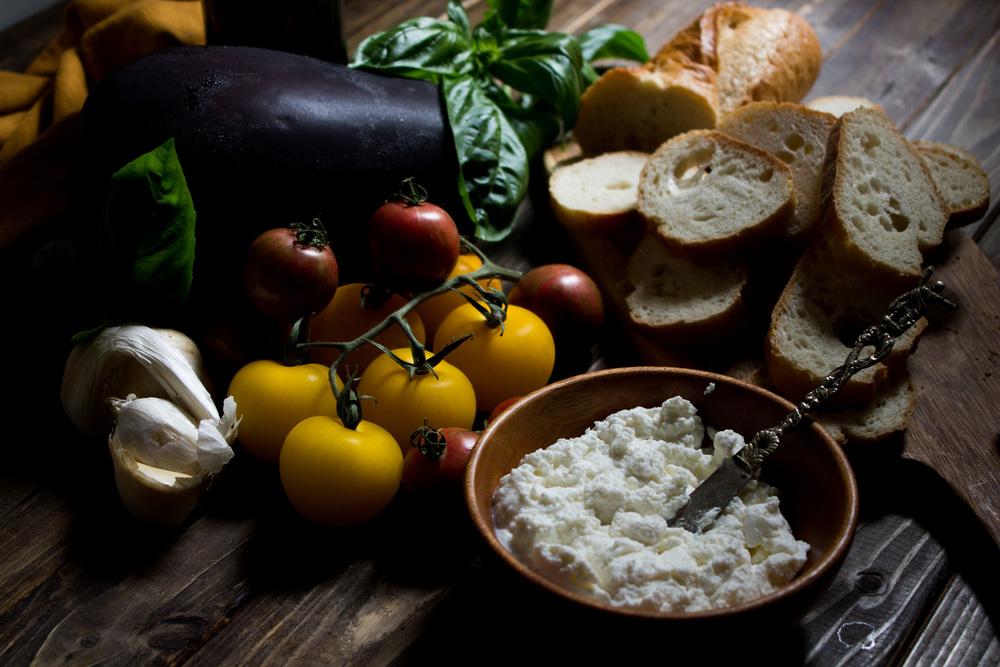 Garden Bruschetta with Eggplant & Ricotta {Pedantic Foodie}