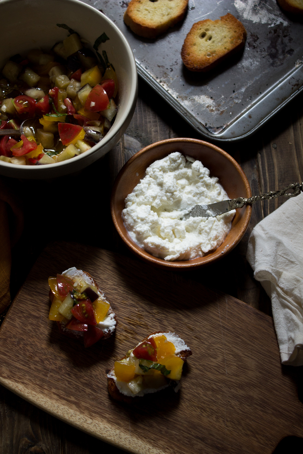 Garden Bruschetta with Eggplant & Ricotta {Pedantic Foodie}