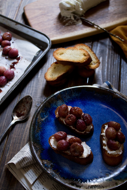 Balsamic-Roasted Grape Crostini {Pedantic Foodie}