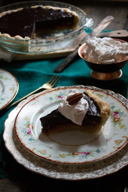 Chocolate Custard Pecan Pie with Cinnamon Whipped Cream {Pedantic Foodie}