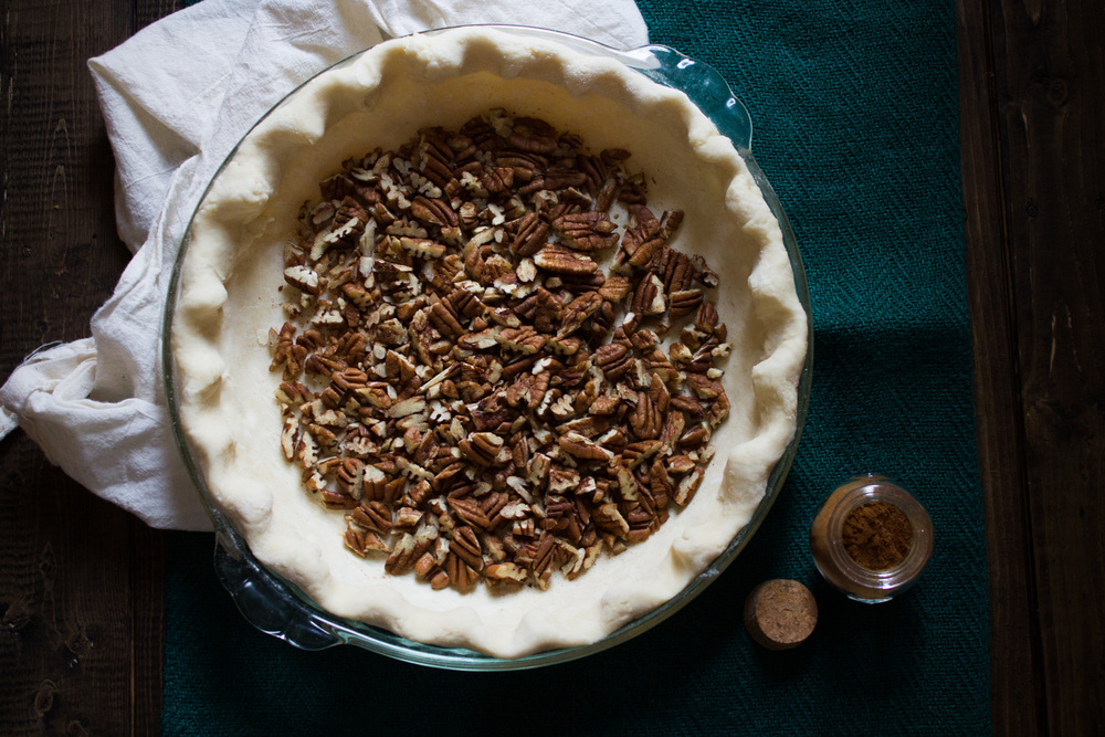 Chocolate Custard Pecan Pie with Cinnamon Whipped Cream {Pedantic Foodie}