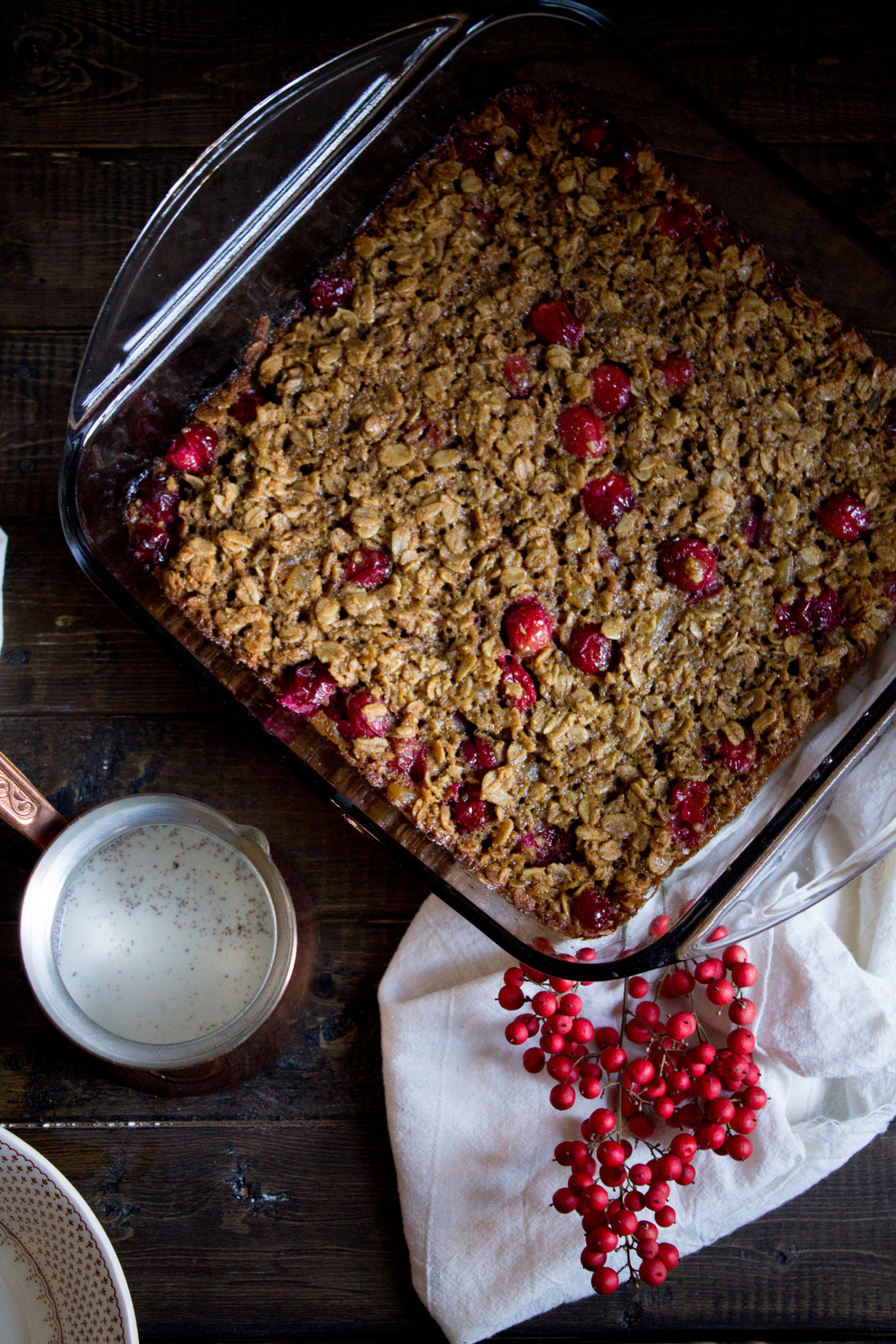 Cranberry Gingerbread Baked Oatmeal {Pedantic Foodie}