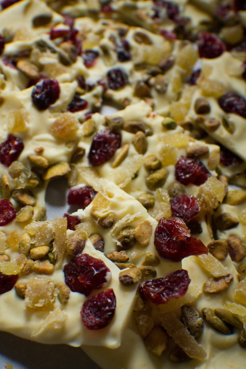 White Chocolate & Orange Bark with Cranberries, Ginger, and Pistachios {Pedantic Foodie}
