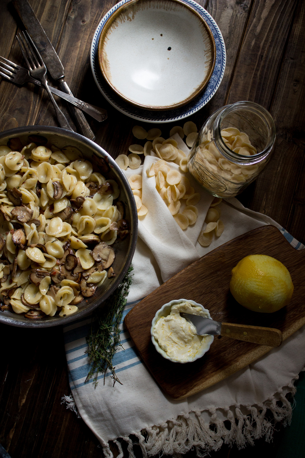 Mushroom & Thyme Pasta with Lemon Butter {Pedantic Foodie}