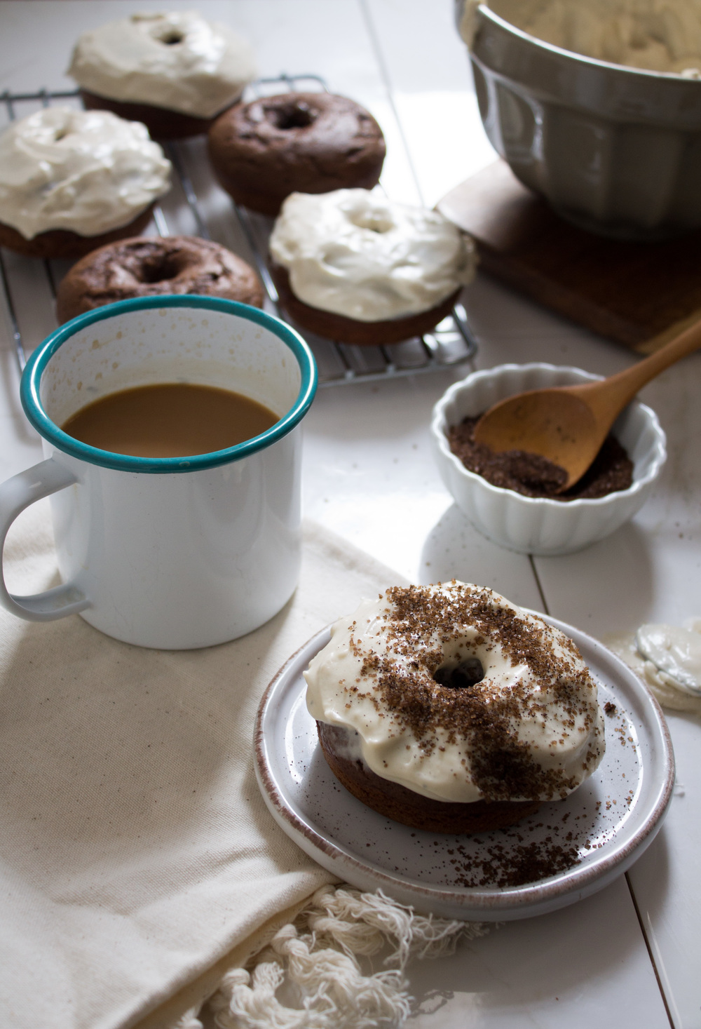 Espresso Doughnuts with Brown Butter Cream Cheese Frosting {Pedantic Foodie}
