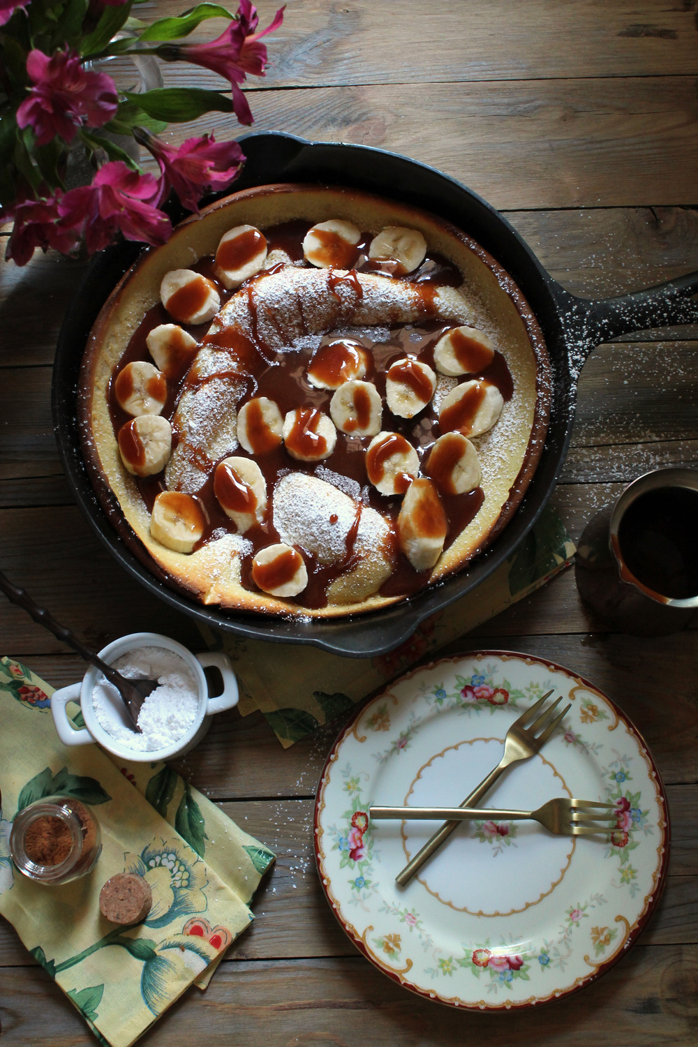 Dutch Baby with Bananas and Cinnamon Caramel Sauce {Pedantic Foodie}