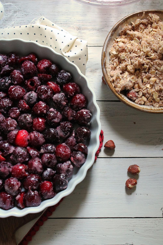 Black Cherry Hazelnut Crisp with Cinnamon Ice Cream {Pedantic Foodie}