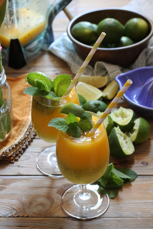 Mango Rum & Mint Limeade Slushie {Pedantic Foodie