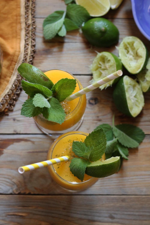 Mango Rum & Mint Limeade Slushie {Pedantic Foodie}