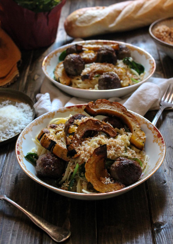 Autumn Meatballs with Linguine and Delicata Squash {Pedantic Foodie}