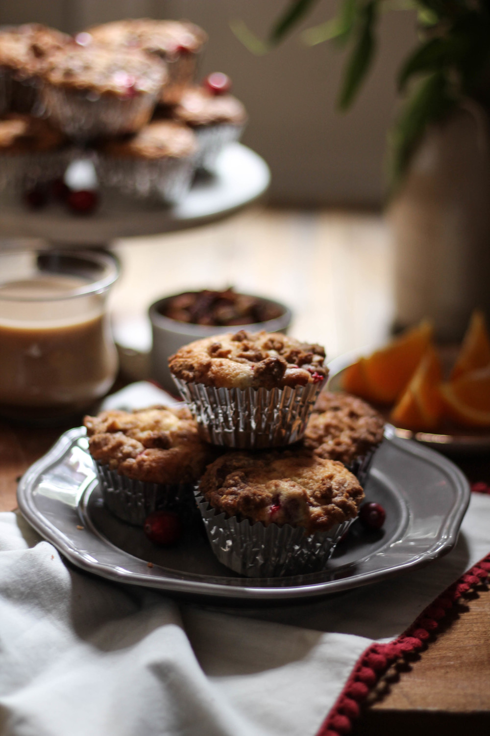 Cranberry Orange Muffins with Pecan Cinnamon Streusel {The Pedantic Foodie}