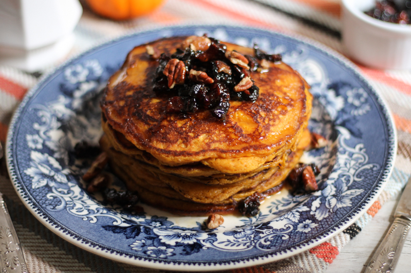 Pumpkin Pancakes with Candied Bacon & Apple Cider Syrup {Pedantic Foodie}