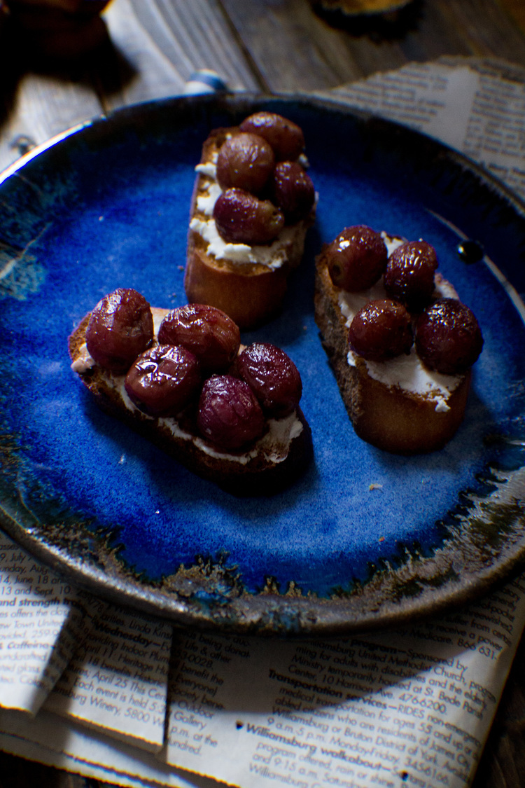 Balsamic-Roasted Grape Crostini