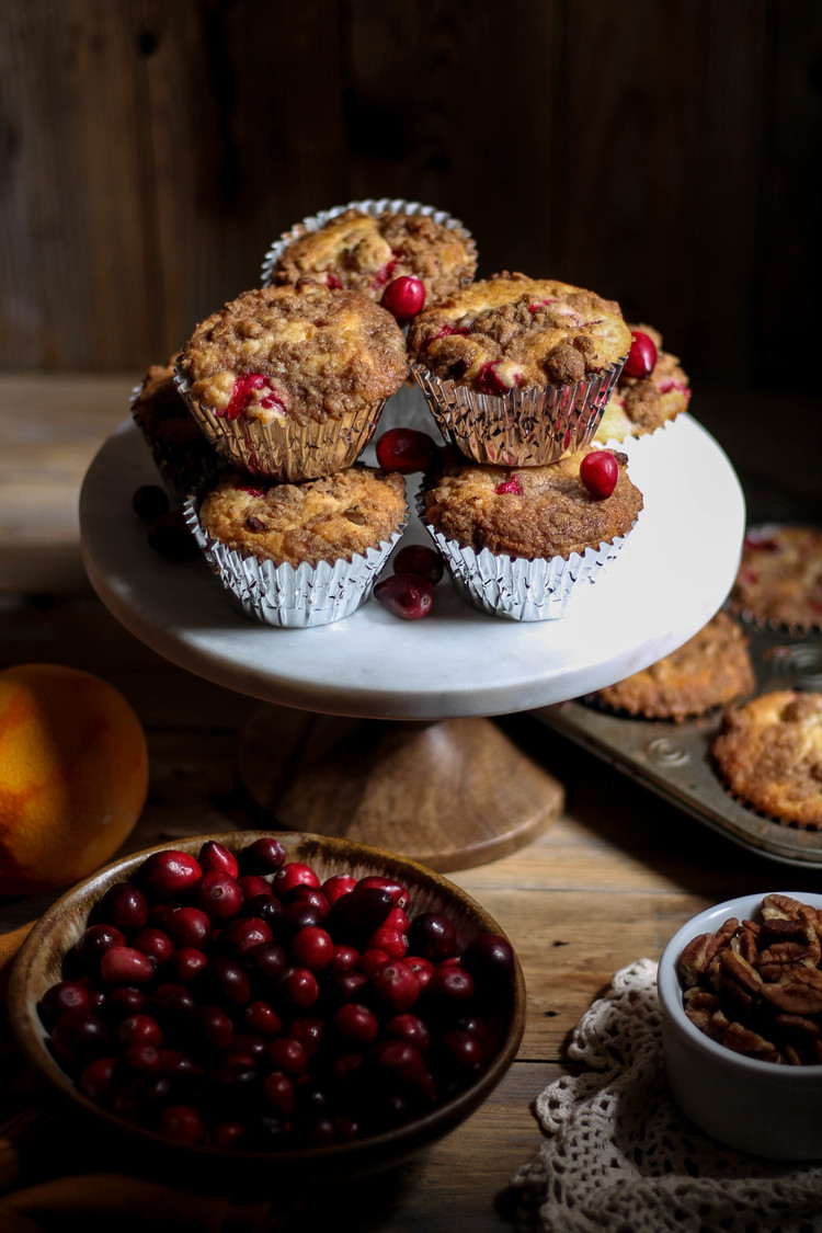 Cranberry Orange Muffins with Cinnamon Streusel