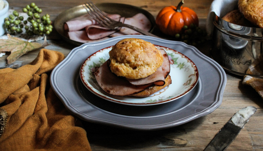Sweet Potato Ham Biscuits with Honey Butter