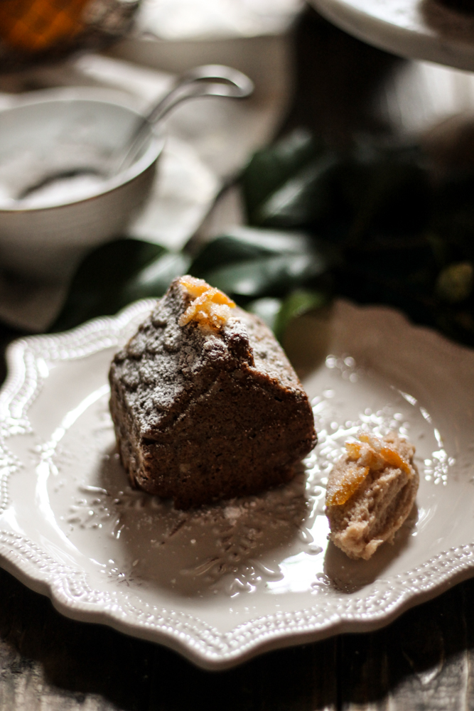 Gingerbread Tea Cakes with Whipped Cinnamon Mascarpone and Candied Orange Peel {Pedantic Foodie}