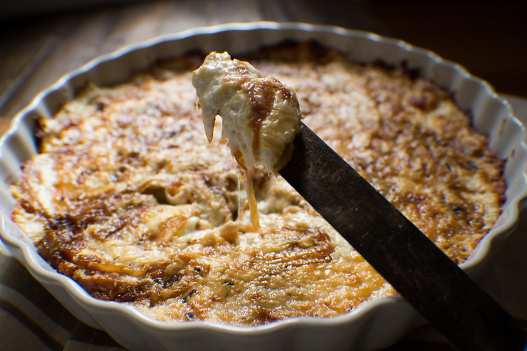 Baked Caramelized Onion & Goat Cheese Dip