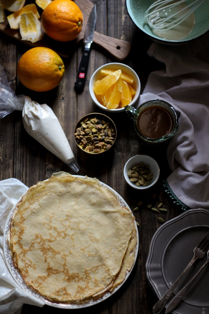 Stuffed Crepes with Pistachios and Orange & Cardamom Caramel Sauce {Pedantic Foodie}