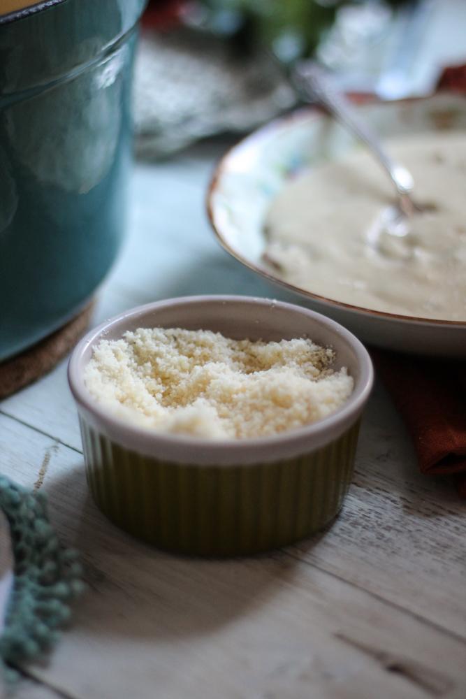 Parmesan & Cauliflower Soup with Crispy Pastrami {Pedantic Foodie}