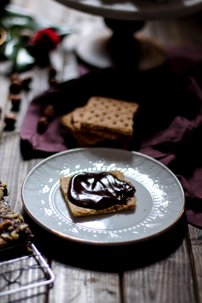 Grown-Up S'mores with Blackberry Marshmallows and Red Wine Ganache {Pedantic Foodie}