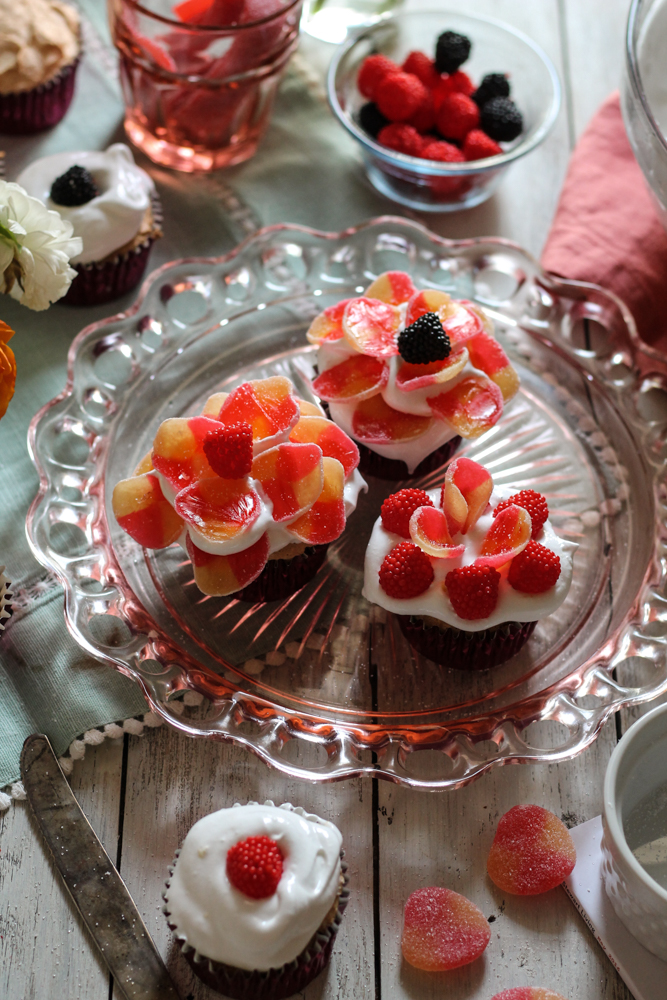 Angel Food Cupcakes with Candy Flowers {Pedantic Foodie}