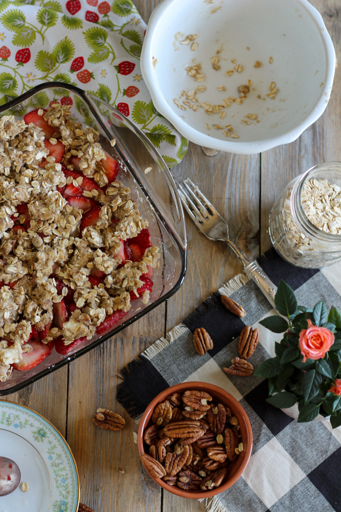 Strawberry Crisp with Buttermilk Cream Cheese Ice Cream {Pedantic Foodie}