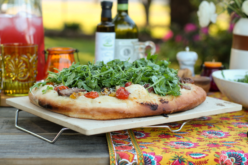 Grilled Pizza with Flank Steak and Bursts Cherry Tomatoes {Pedantic Foodie}