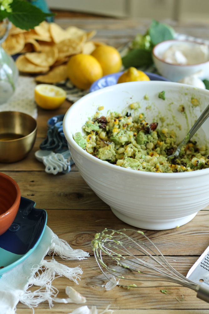Charred Corn & Bacon Guacamole {Pedantic Foodie}