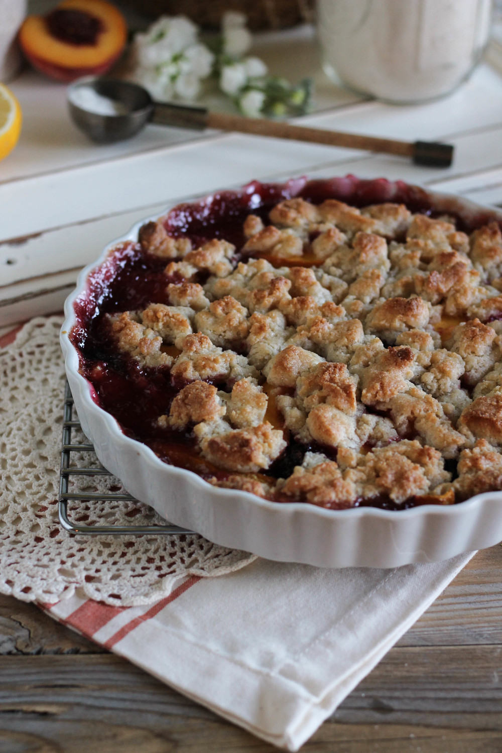Peach & Cherry Cornmeal Cobbler with Rum Whipped Cream {Pedantic Foodie}