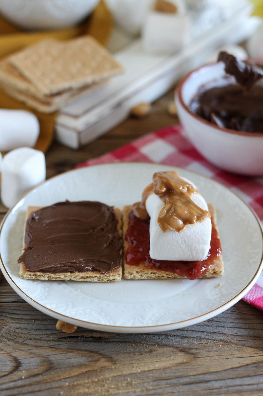 Peanut Butter & Jelly Baked S'mores {Pedantic Foodie}