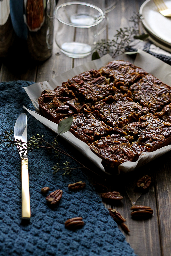 Pecan Pie Bars with Cranberry Dark Chocolate Shortbread {Pedantic Foodie}