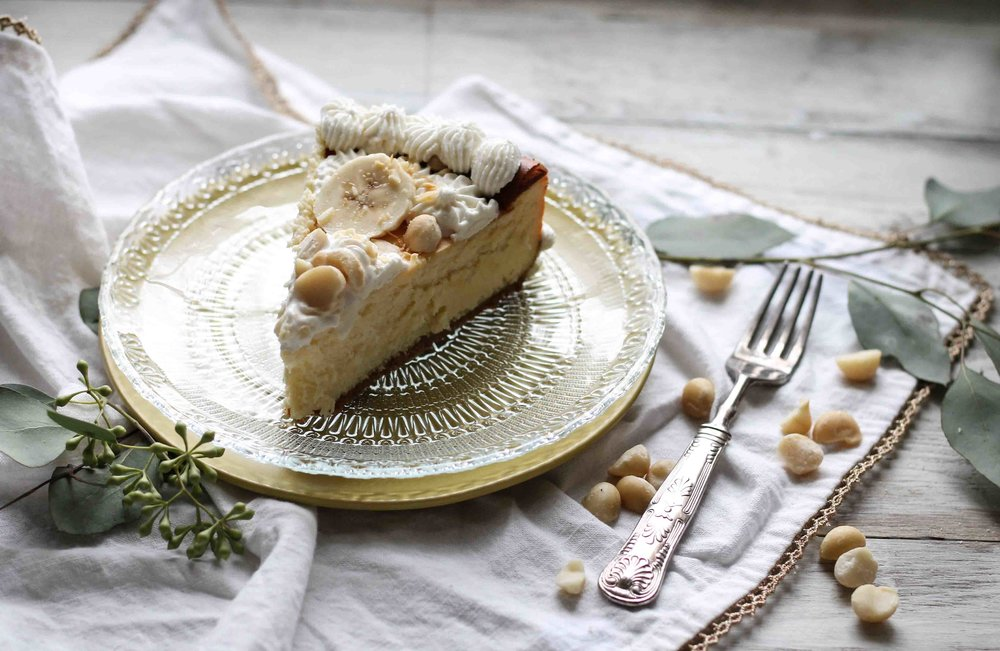 White Chocolate Cheesecake with Banana & Macadamia Nuts {Pedantic Foodie}