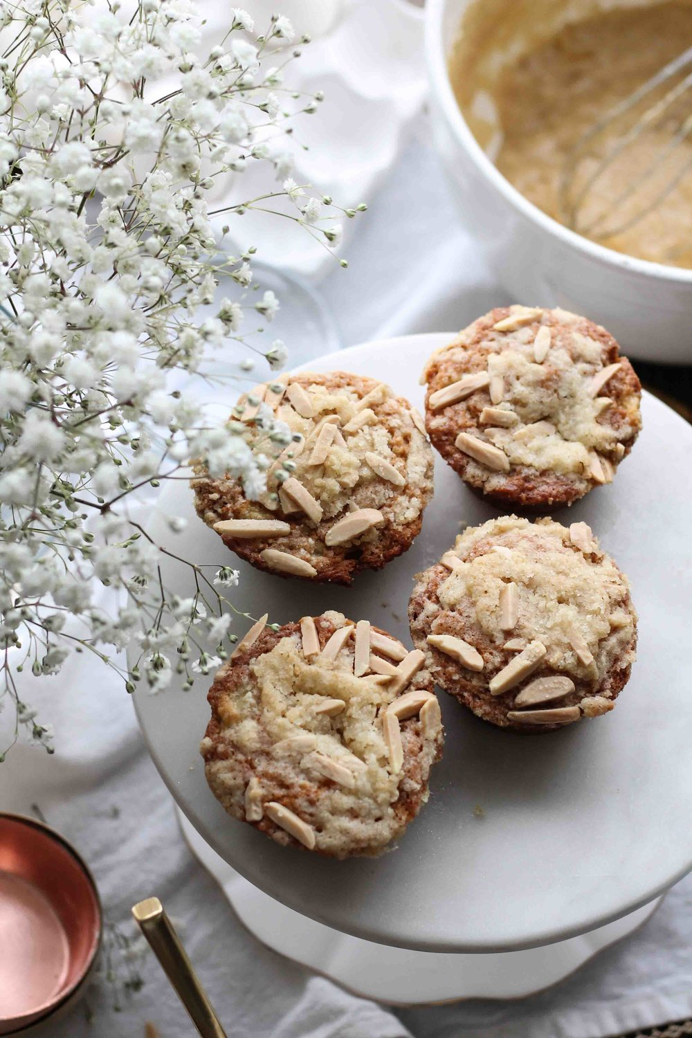 Banana Muffins with Almond Sugar Streusel {Pedantic Foodie}