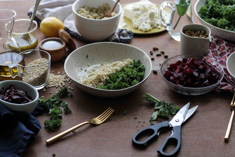 Kale, Barley & Roasted Beet Salad with Poppy Seed Dressing {Pedantic Foodie}